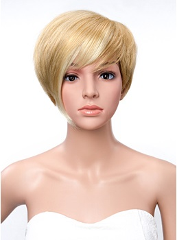 100% Human Hair Short Straight Bob Hairstyle Capless Wigs with Full Bang