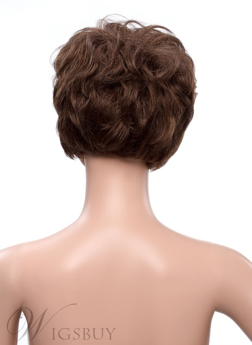 Short Layered Straight Full Bang Capless Human Hair Wig 10 Inches