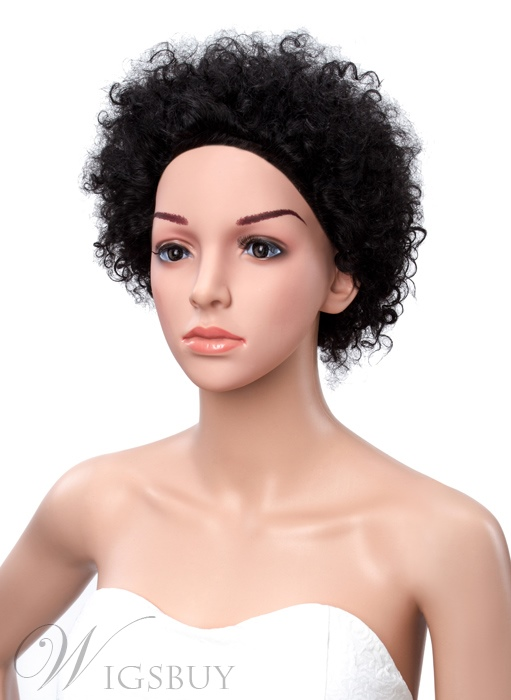 Short Kinky Curly 100% Human Hair Lace Front Wigs