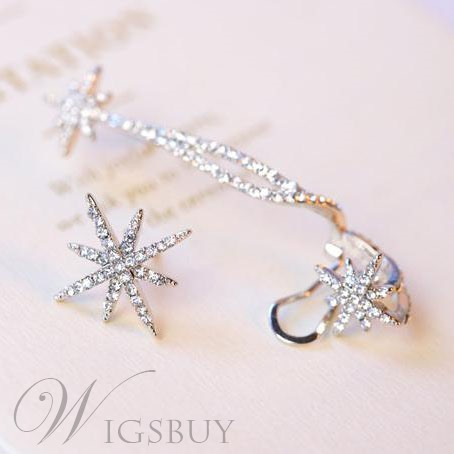 New Arrival Shining Snow Rhinestone Asymmetric Ear Cuff