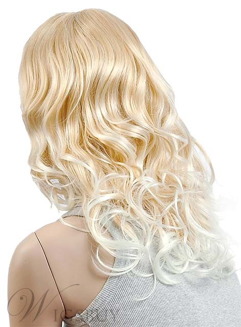 Top Quality Long Natural Wave Capless Synthetic Wig with Full Bang