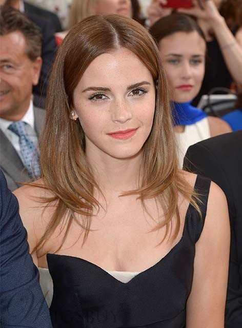 Emma Watson Medium Straight Hairstyle Lace Front Human Hair Wig 16 Inches