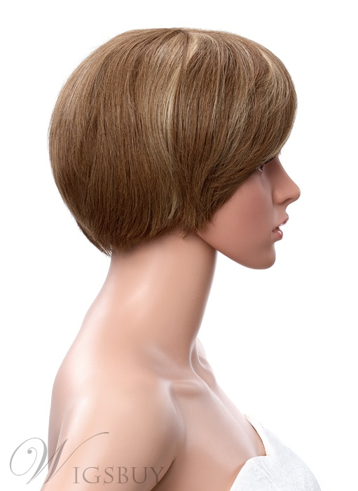 6 Inches Short Straight Full Bang Capless Human Hair Cheap Wigs