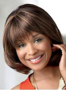 Short Straight Bob Hair Style Full Bang Human Hair Capless Wigs 12 Inches