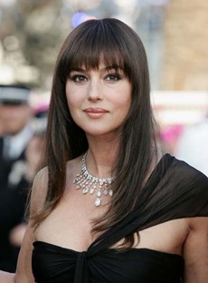 Hot Sale Monica Bellucci Long Natural Straight Hairstyle Capless Synthetic Wig 18 Inches