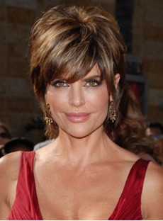 Lisa Rinna Short Hair Layered Straight Human Hair Capless Wig 8 Inches