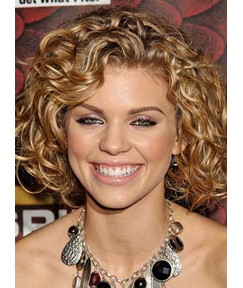 Celebrity Medium Curly Hairstyle Lace Front Human Hair Wig 14 Inches