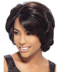 Short Straight Bob Hairstyle Side Swept Lace Front Synthetic Wigs 10 Inches