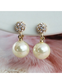 Pearl & Rhinestone Decorated Drop Earrings