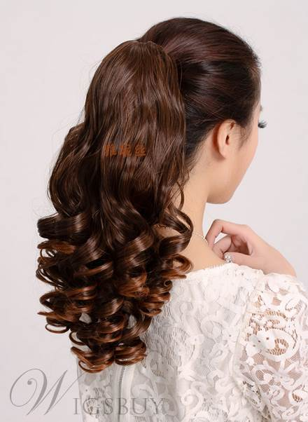 Fashion Long Wave Fluffy Clip In Synthetic Ponytail