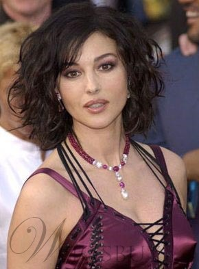 Monica Bellucci Medium Curly Hairstyle Lace Front Human