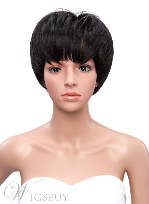 Bob Hairstyle Full Bang Short Straight Synthetic Capless Wigs 11361660