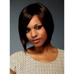 100% Human Hair Deep Side Swept Lace Front Short Straight Wigs 10 Inches