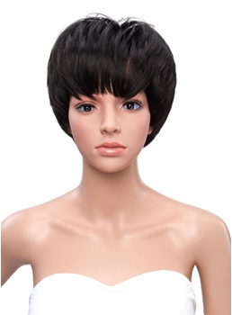 Bob Hairstyle Full Bang Short Straight Synthetic Capless Wigs
