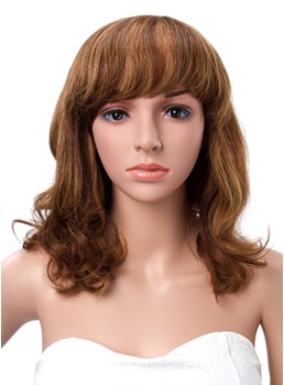 Slight Loose Wave Full Bang 100% Human Hair Capless Wigs 16 Inches