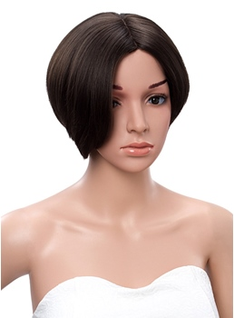 Short Straight Synthetic Side Bang Monofilament Top Wigs