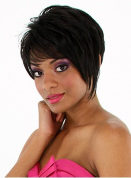 Short Straight Human Hair Bob Hairstyle Full Bang Capless Wigs 8 Inches