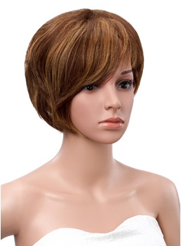 Short Straight Human Hair Full Bang Bob Hairstyle Capless Wigs