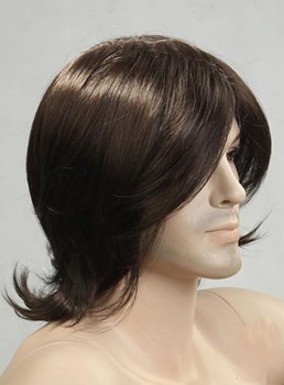 Comfortable Medium Wave Synthetic Wig for Men 12 Inches