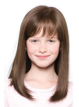 Adorable Medium Straight Capless Human Hair Wig for Kids