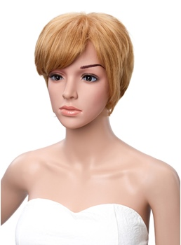 Short Straight Monofilament Top Side Bang Synthetic Wigs