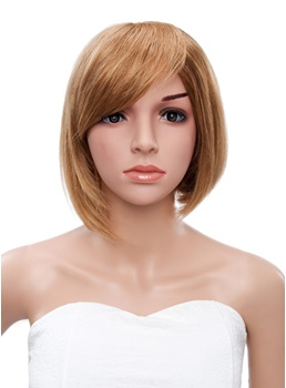 10 Inch Short Straight Bob Hairstyle Human Hair Capless Wigs