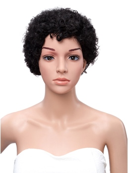 Short Kinky Curly Black Women Full Lace Human Hair Wigs