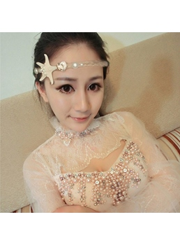 Stylish Cotton Linen Starfish Shaped Beaded Hair Band