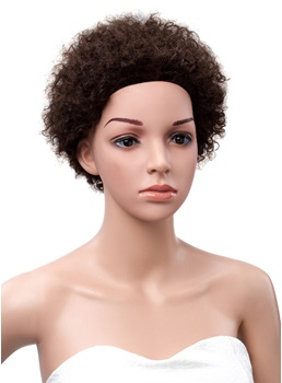 African American Short Kinky Curly Human Hair Full Lace Wigs