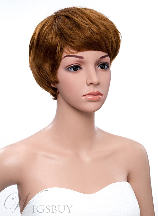 Short Straight Bob Hair Style Full Bang Synthetic Capless Wigs 8 Inches
