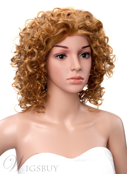 Loose Short Curly Front Lace Wig 100% Real Human Hair 14 Inches