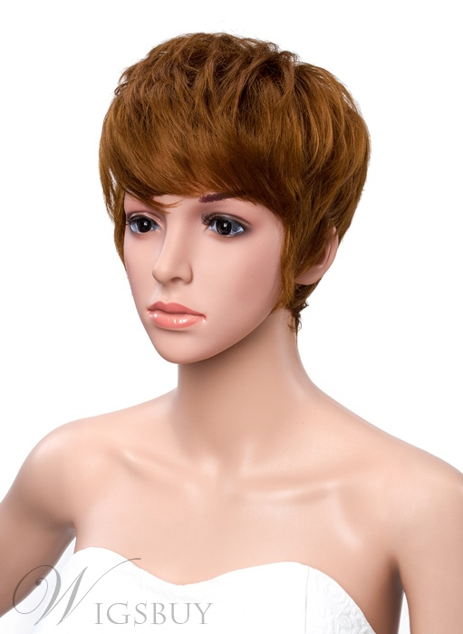 Short Straight Boy Cut Hairstyle Capless Synthetic Wigs 6