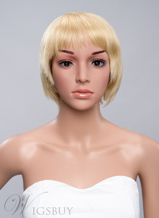 Short Straight Human Hair Bob Hairstyle Full Bang Capless Wigs