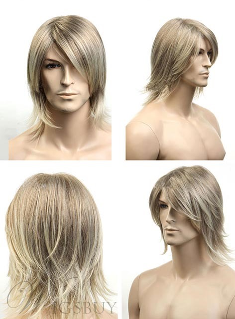 Gray Short Straight Synthetic Wig for Men 10 Inches