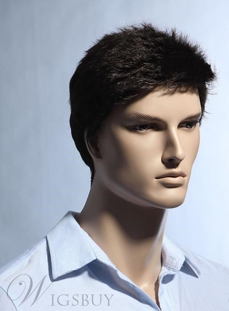 New Arrival Short Straight Dark Brown Synthetic Wig for Men