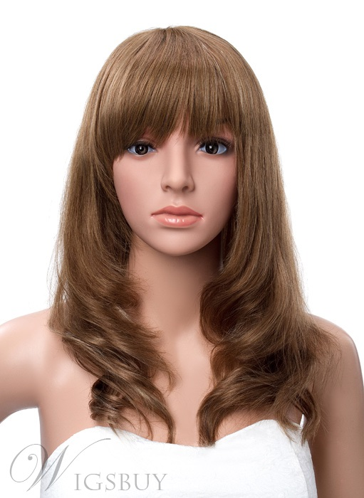 Human Hair Full Bang Layered Bob Hairstyle Capless Wigs 16 Inches