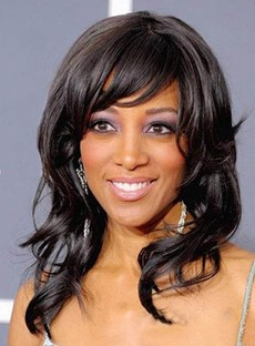 Graceful Medium Natural Wave Capless Synthetic Wig for Black Women 16 Inches