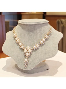 Fashion Pearl & Rhinestone Decorated Necklace