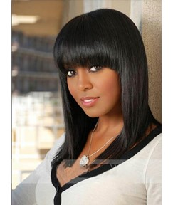 Medium Natural Straight Capless Synthetic Wig 16 Inches