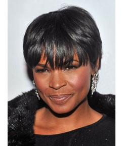 Black Women Short Straight Capless Synthetic Wig 8 Inches