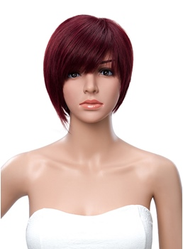 Short Straight Full Bang Asymmetric Human Hair Wig 10 Inches