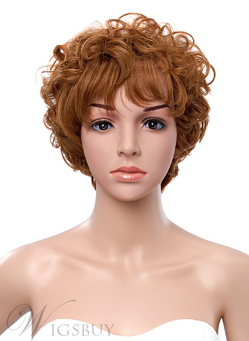 10 Inches Short Curly Capless Human Hair Wig 10 Inches