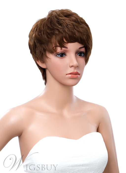 New Arrival Short Layered Straight Asymmetric Human Hair Wig 8 Inches