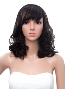 Hot Sale Medium Wave Capless Synthetic Wig 14 Inches