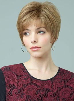 Short Layered Straight Capless Human Hair Wig 8 Inches