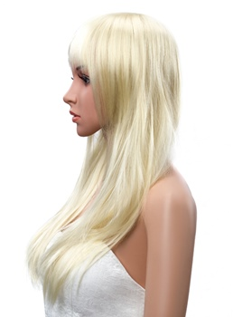 Long Straight Golden Capless Synthetic Wig 18 Inches