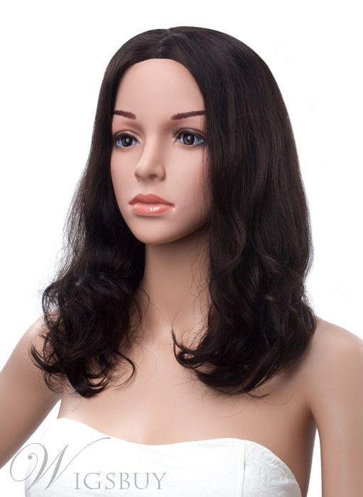 Medium Wave Lace Front Human Hair Wig 16 Inches