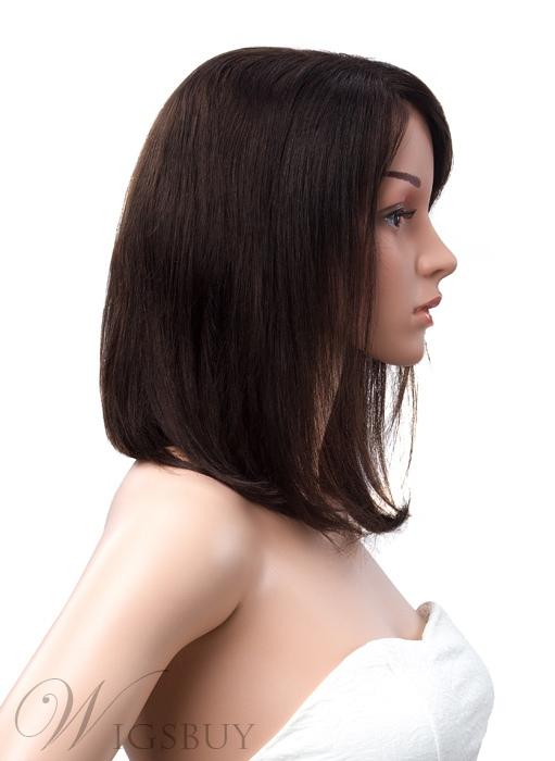Medium Bob Hairstyle Lace Front Human Hair Wig 12 Inches