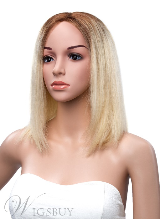 Charming Medium Bob Hairstyle Lace Front Human Hair Wig 12 Inches