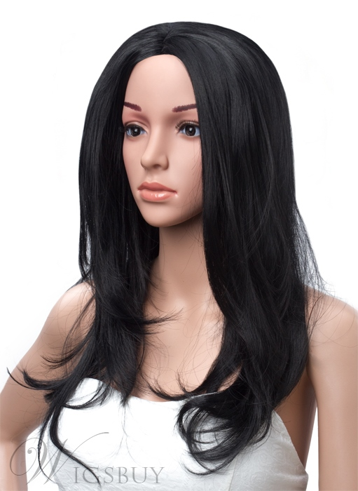 Long Layered Straight Black Lace Front Synthetic Wig 18 Inches